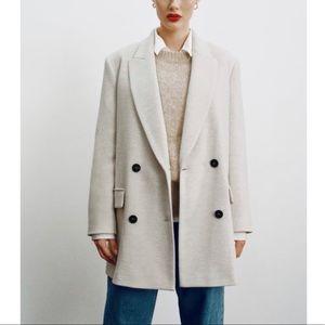 NEW Zara Double-Breasted Pea Mid Length Coat